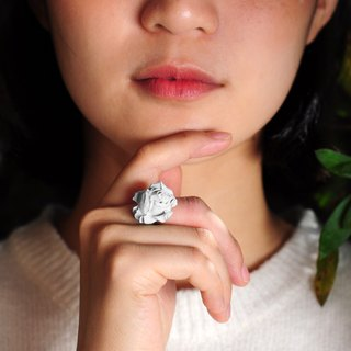 Grey Rose Concrete Ring | Chloris Series (Silver / Rose Gold)