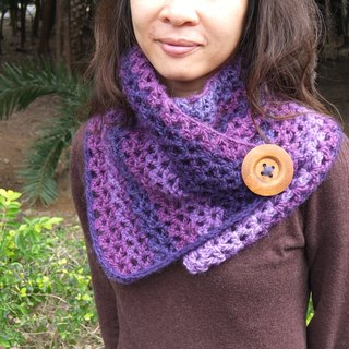 Hand-woven wool purple gradient warm neck circumference / small shawl