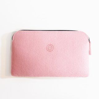 Simple wool felt clutch bag / cherry blossom powder can be used as pencil case. Mobile phone storage bag. Cosmetic bag. Passport bag