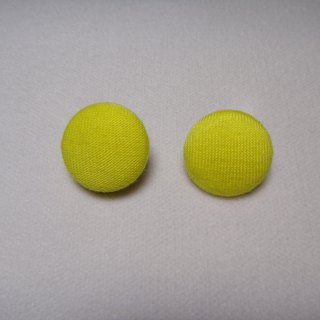 (C) _ lemon yellow cloth button earrings C22BT / UZ55