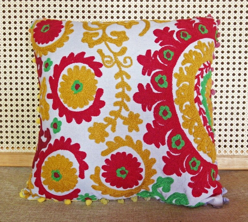 Grooving The Beats Handmade Suzani Cushion Cover Embroidery