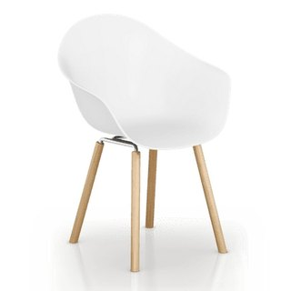 TOOU ArmShell Chair with oak legs (white)