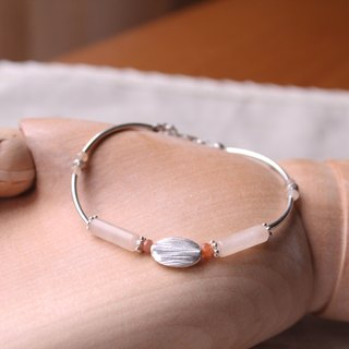 Journal (macarons bite) - Like grapefruit orange / silver hand-made, natural stone hand Bracelet