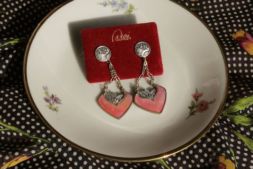 Vintage ear pin earrings hanging shell (red)