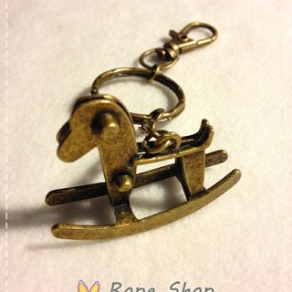 Three-dimensional modeling and shook his small horse. Vintage bronze color key ring