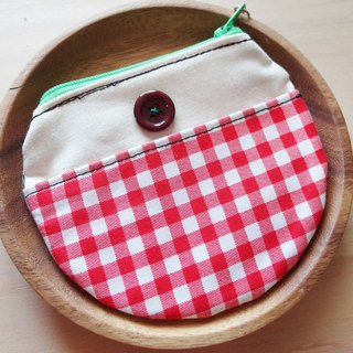 Cha mimi. Round the corner missing wallet Round purse -! X red plaid vintage French