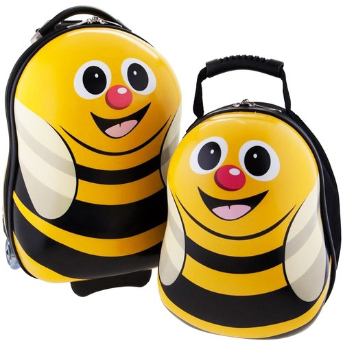 [British cuties and pals] 16-inch egg-shaped light monocoque exclusive suitcase +13 inch backpack child group (Bee)