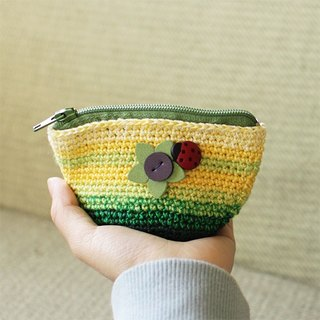 Hand-Knitted Purse--Flower and Laddybug