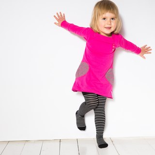 [Nordic children's clothing] Swedish organic cotton tights black / white (1.5 ~ 6 years old)