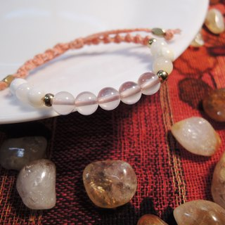 Rose Quartz Tridacna / natural stone x Brazilian wax silk cord bracelet