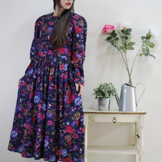 F1524 [American-made bids] (Vintage) dark blue background Pink flowers cotton long-sleeved red vintage dress (wedding / picnic / party)
