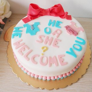 Gender revealing party with fondant cake