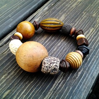 Muse natural size wooden bead retro national wind ceramic bead bracelet