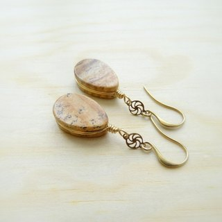 Downton-Autumn。Picture Jasper Flat Teardrop Antique Brass Drop Earrings