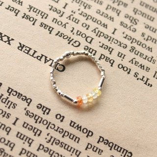 Journal (letter G - Gradient meticulous soft ring) - silver hand-made, clear yellow sapphire, aquamarine