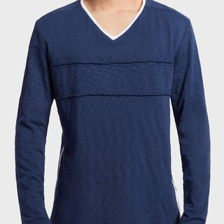 Men Long Sleeve V-Neck T-Shirt (Blue)