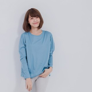 Xyza long sleeve with boat neck top / lake blue