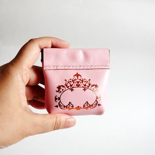 Handmade pink leather flex frames coin purse