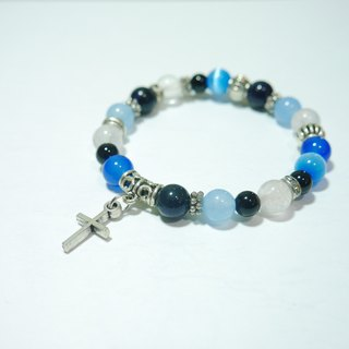 S & amp; A- wave bracelet Blue Cross Blue agate stone gravel - beaded