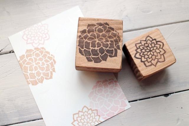 【好評加售】大理花 木頭印章組(兩朵)