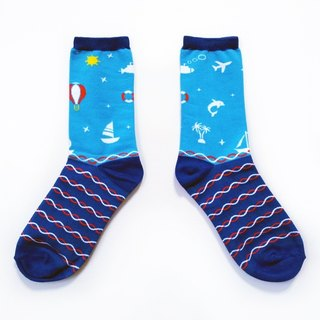 Midsummer of Love, counting 浪花一朵朵 / blue and white / dream Giants series socks