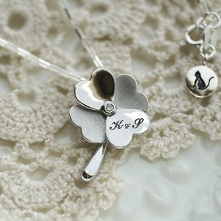 Handmade 925 Sterling Silver x Natural Gems (Realistic Stereo Clover Necklace) Best Wishes