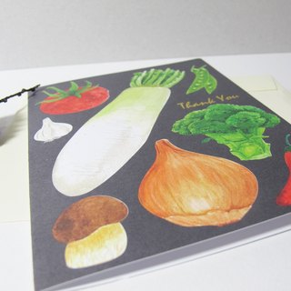 panda grocery store - bronzing various vegetables thank you card