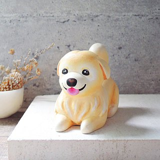 / Warm male bear / cute stay golden retriever ornaments handmade wooden healing small wood carving