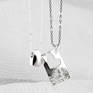About love - dig heart - love hollow necklace men and women on the chain Couples necklace Customized handmade jewelry
