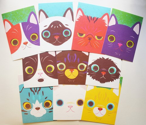 Postcard printed version: 10 cats into the kit