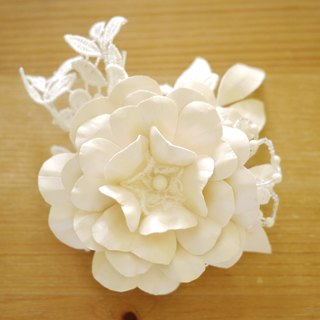 """Being of Love"" pearl light ivory hand-made leather flower headdress / lace bridal headdress"