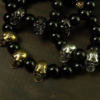 [METALIZE] Three Skulls 8MM Beaded Bracelet Three Scorpion 8MM Beaded Bracelet