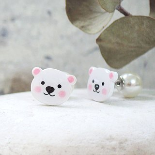 Round doodle polar bear handmade earrings anti-allergic ear pin painless ear clip