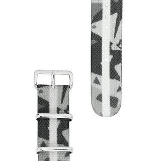 HYPERGRAND Military Strap - 20mm - FROSTBITE CAMO Abstract Grey Camo (Silver Buckle)
