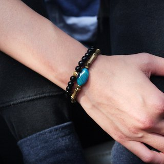 Natural Stone Brass Bracelet - Danube Blue (Accessories / Personality / Remix)