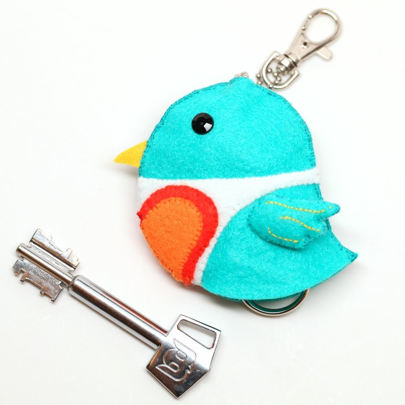 [Birds around pocket] Valentine's Day blue and green concentric bird key bag