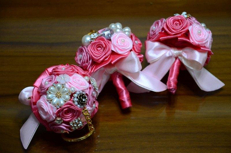 CAmelliaT camellia jewelry bouquet keychain cat * [Pink roses money] * was * sisters small wedding ceremony