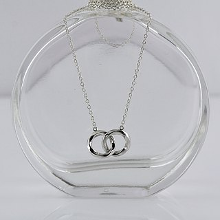 Twist double circle necklace sterling silver exchange gift Christmas birthday to yourself