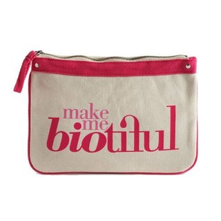 France my biotiful bag Organic Cotton Big Flat Pouch-Pink