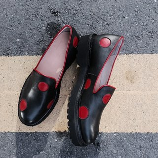 Painting # 978 || I say grass fried red dot black leather platform shoes ||