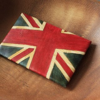 Possession of the British army green retro smile wind pure leather business card holder - lettering