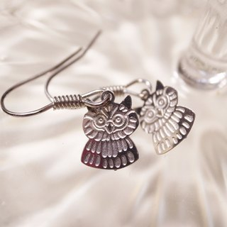 Silver earrings owl Cuckoo