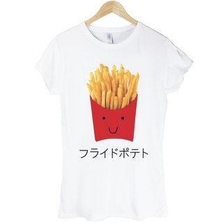 Japanese-French Fries girls short-sleeved T-shirt - White fries hamburger food fast food bread toast Japanese Japanese design own brand