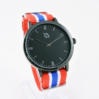[UNI BASIC] simple case a large surface black watch with black face three-dimensional scale between blue and red lines nylon belt