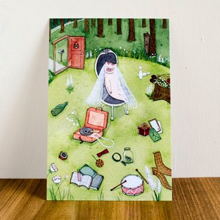 "Watercolor illustration postcard-""Bear & Pig series""-Once upon a time"