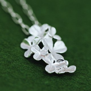 Clover pendant & chain set - non-allergenic jewelry -  four leaf clover