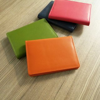 Colorful series - leather business card holder / dazzling orange