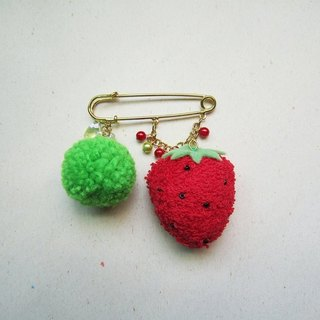 Strawberries with plush ball pin
