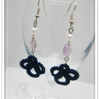 Complex Gulei Si deep blue flower. Earrings (spot)