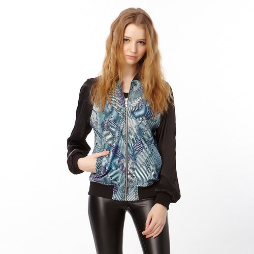 SEVEN CRASH: CAMOUFLAGE STRIP BOMBER JACKET / WOMAN